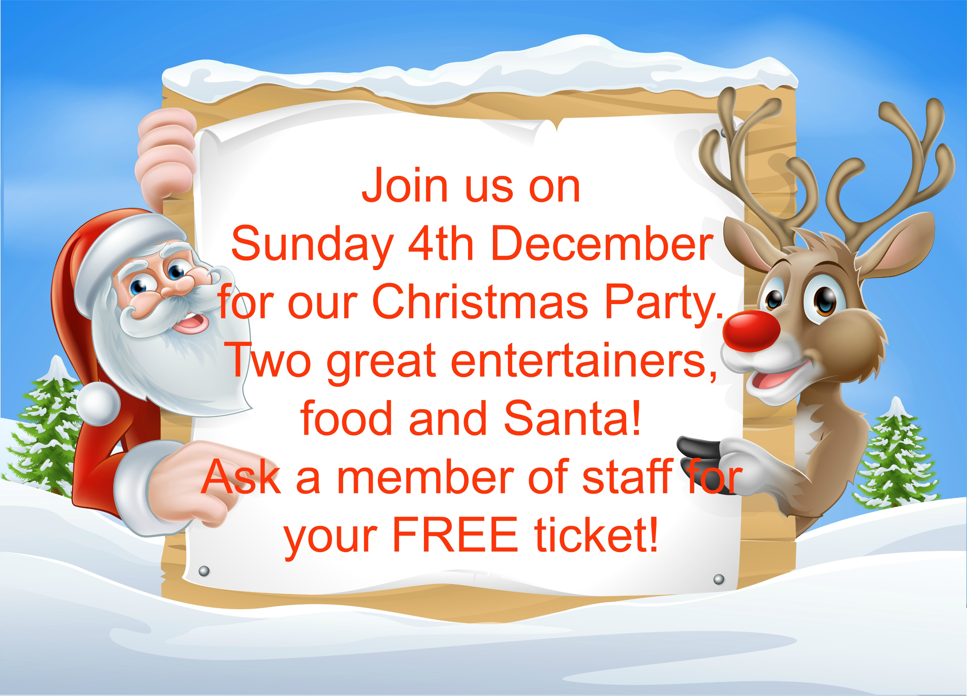 Don't forget to collect your tickets for the Christmas Party!